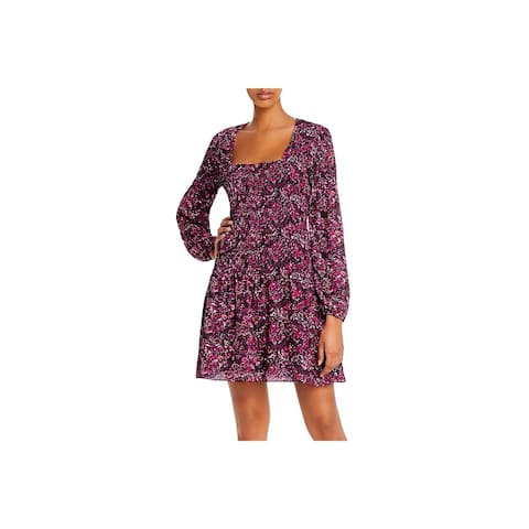 Parker Womens Mini Dress Floral Print Ribbed - Presley Mosaic