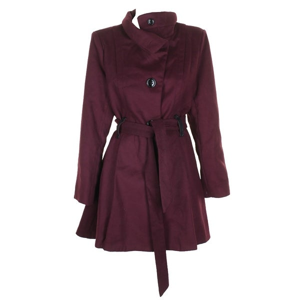 1abc9088b77f5 Shop Madden Girl Plus Size Merlot Belted Stand-Collar Walker Coat 3X ...