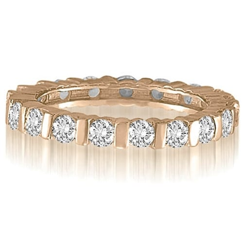 1.25 cttw. 14K Rose Gold Bar Set Round Cut Diamond Eternity Wedding Band Ring
