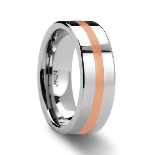 THORSTEN - CERBERUS Rose Gold Inlaid Flat Tungsten Ring
