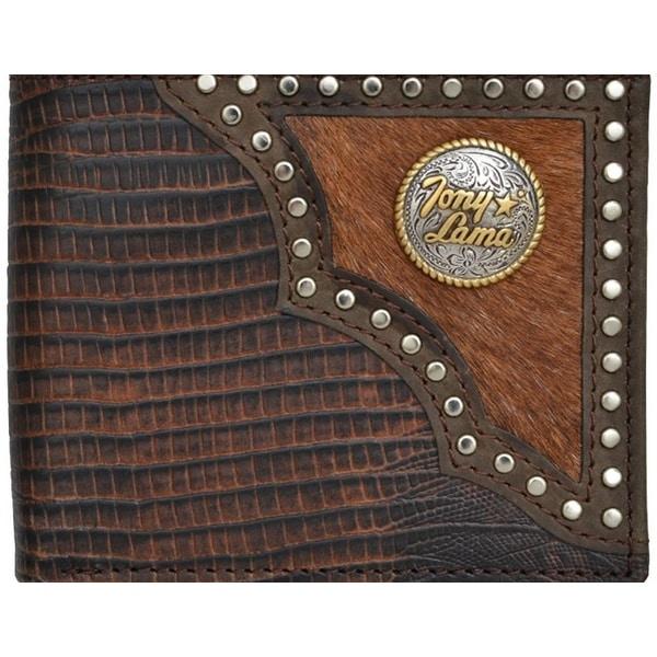 Tony Lama Mens Wallet Bifold Lizard Leather Western Concho Brown - One size