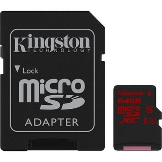 Kingston SDCA3/64GB Kingston 64 GB microSDXC - Class 3/UHS-I - 90 MB/s Read - 80 MB/s Write - 1 Card