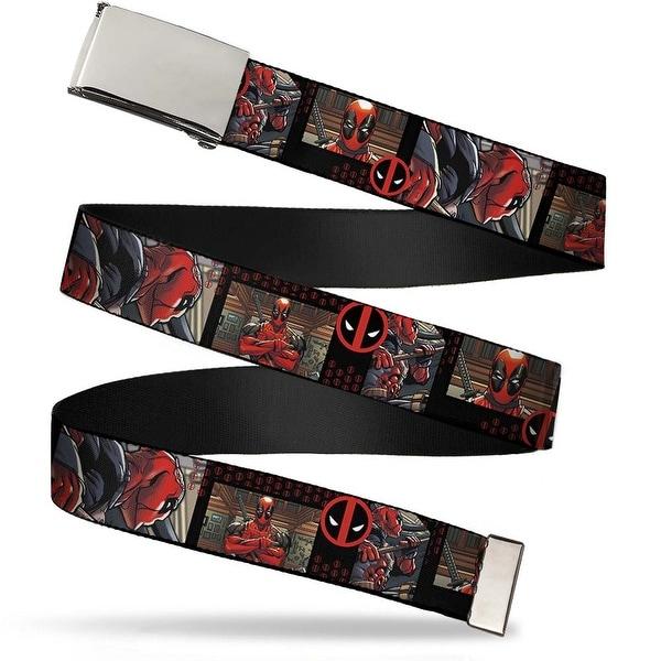 "Marvel Deadpool Blank Chrome 1.0"" Buckle Deadpool Action Blocks Deadpool Web Belt 1.0"" Wide - S"