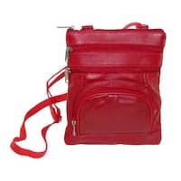 Leather Impressions Women's Multi Pocket Organizer Crossbody Handbag - One size