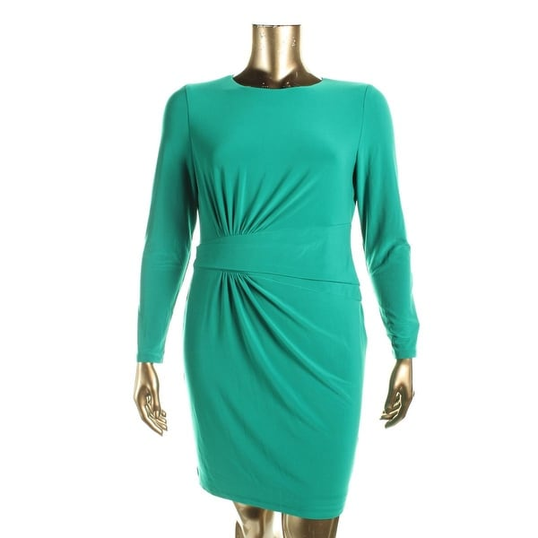 Lauren Ralph Lauren Womens Petites Cocktail Dress Matte Jersey Gathered