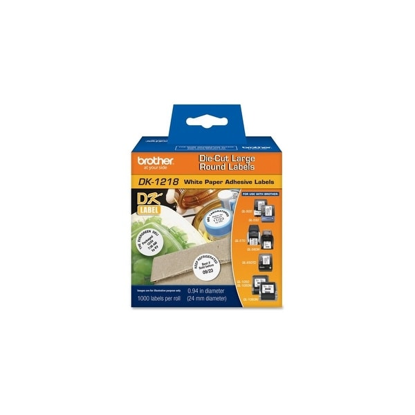 "Brother DK1218 Brother Label Maker Tape Cartridges - 1"" Length - 1000 / Roll - Direct Thermal - White - 1 Roll"