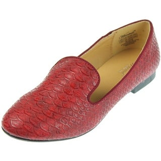 Wanted Womens Faux Leather Textured Smoking Loafers - 5.5 medium (b,m)