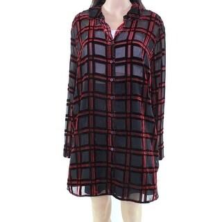 Foxcroft NEW Black Red Women's 18W Plus Button Down Sheer Velvet Top