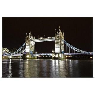"""Tower Bridge, London Bridge at night"" Poster Print"