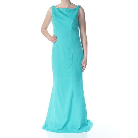 KAY UNGER Womens Turquoise Embroidered Darted Low Zip Back Floral Sleeveless Square Neck Full-Length Prom Dress Size: 10