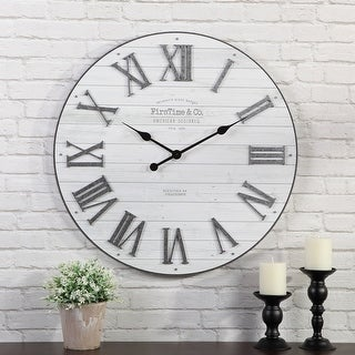 FirsTime & Co.® Emmett Farmhouse Shiplap Wall Clock, American Crafted, Silver Galvanized, Plastic, 27 x 2 x 27 in