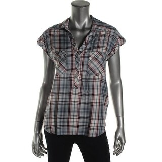 Soft Joie Womens Johnesa Button-Down Top Plaid V-Neck