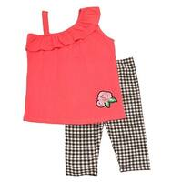 Little Girls Coral One Shoulder Strap Ruffle Top Checker 2 Pc Pant Set