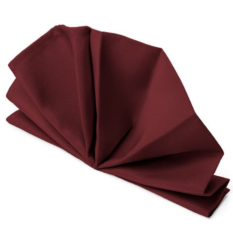 """12-Pack 20"""" Large Polyester Cloth Table Napkins - Burgundy by Mill &"""