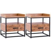 Gymax 2PCS End Side Sofa Table Metal Nightstand Storage Display Bedroom W/1 Drawer - as pic