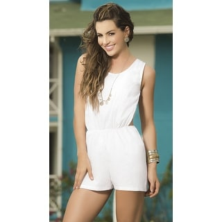 Strappy Open Back Romper, White Strappy Romper