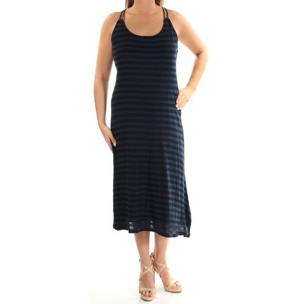 4c9ba39c0e3f Shop Womens Navy Striped Spaghetti Strap Midi Shift Dress Size  L - Free  Shipping On Orders Over  45 - Overstock - 24062796