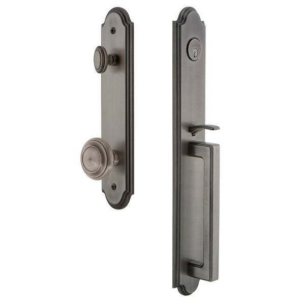 """Grandeur ARCDGRCIR_ESET_234 Arc Solid Brass Rose Keyed Entry Single Cylinder Full Plate """"D"""" Grip Handleset with Circulaire Knob"""