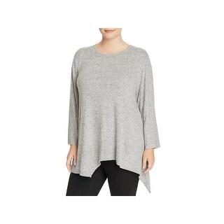 Nally & Millie Womens Plus Tunic Top Handkerchief Hem Fleece