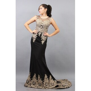 Embroidered Satin Gown