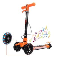 Goplus Folding Aluminum 3 LED Light Up Wheel Kids Kick Scooter Adjustable Height Music - Orange