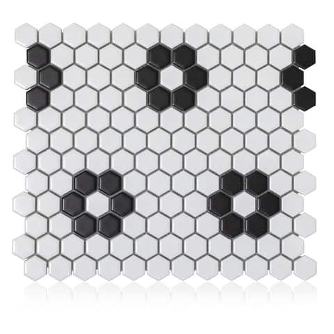Industry Tile 10.23x11.81 Hexagon Flower White with Black porcelain mosaic tile (10 pc/ box)