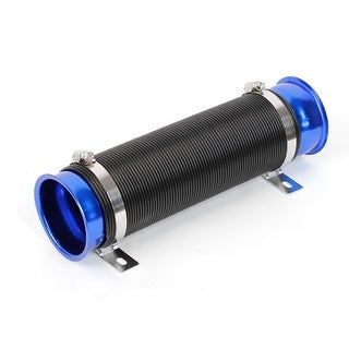Unique Bargains Cars 80mm Dia Cold Air Intake Inlet Hose Flexible Expansion Pipe Black Blue