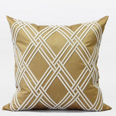 "G Home Collection Luxury Gold Textured Check Embroidered Pillow 20""X20"""