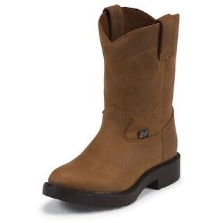 Justin Western Boots Boys Cowboy Roper Aged Bark Brown 4782Y