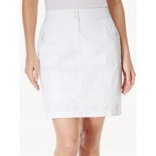 Karen Scott Petite A-Line Skirt, Bright White, 10P