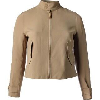 Lauren Ralph Lauren Womens Basic Jacket Suede Trim Mock Neck