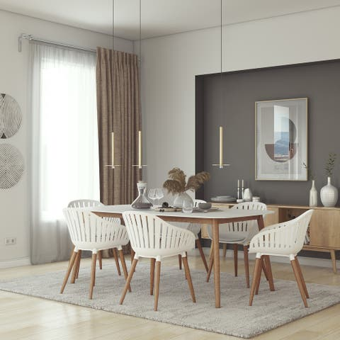 Midtown Concept Nordic 7 Piece Dining Set - White Cushions