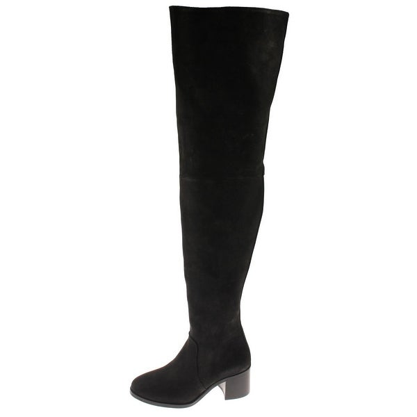 Steve Madden Womens Lancing Over-The-Knee Boots Nubuck Stacked Heel