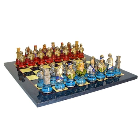 Camelot Busts Acrylic Base Chess Set Blue Board - Multicolored - 1.75 X 17.25 X 17.25 inches