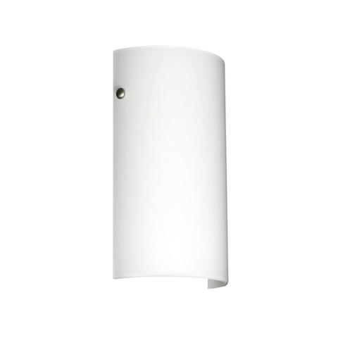 Besa Lighting 704207-LED Tamburo 1 Light ADA Compliant LED Wall Sconce with Opal Matte Glass Shade - satin nickel