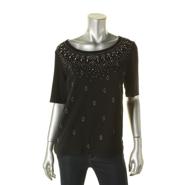 ab6cd1da Shop Karen Scott Womens Casual Top Embellished Studded - Free Shipping On Orders  Over $45 - Overstock - 15892775