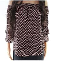 Moa Moa Pink Womens Off-Shoulder Printed Blouse