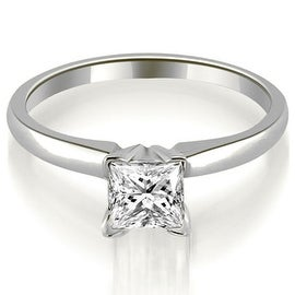 0.50 cttw. 14K White Gold Classic Princess Cut Solitaire Diamond Ring