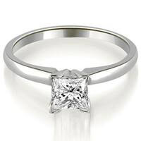 0.50 cttw. 14K White Gold Classic Princess Cut Solitaire Diamond Promise Ring HI, SI1-2