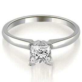 0.75 cttw. 14K White Gold Classic Princess Cut Solitaire Diamond Ring