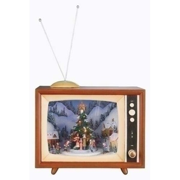 """10"""" Amusements LED Lighted Animated and Musical Retro Christmas Television Set"""