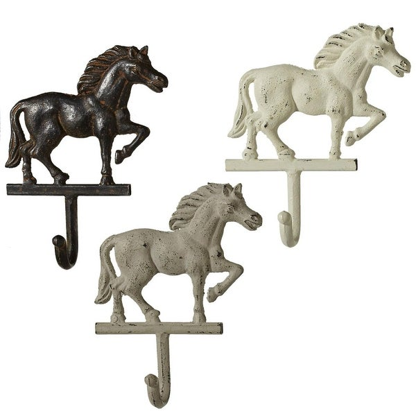 "Set of 3 Neutral Vintage Style Metal Horse Wall Hooks 7.87"" - Black"
