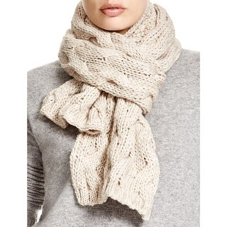 Echo Design Women's Light Beige Cable Knit Scarf Made In Italy