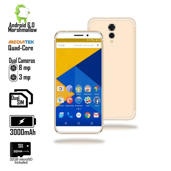 4G LTE Android Marshmallow QuadCore & DualSIM SmartPhone (5.6-inch + Fingerprint Access + 32gb microSD Included) - White