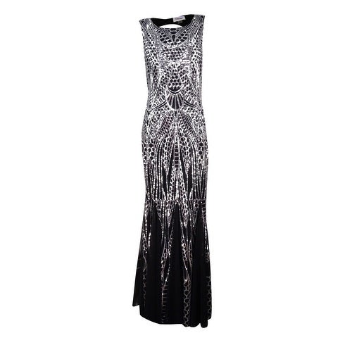 f5da530b1d84 Shop Calvin Klein Women's Sequined Open-Back Mermaid Gown - Silver/Black -  6 - Free Shipping Today - Overstock - 18302881