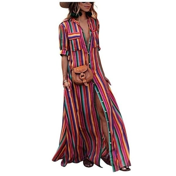 Striped Boho Maxi Dress