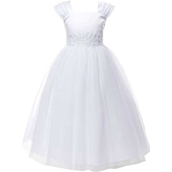 Communion Dress Cap Sleeve Floral Embroidery White KD 222