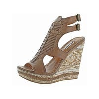 Not Rated Womens Meta Wedge Sandals Faux Leather Cut Out