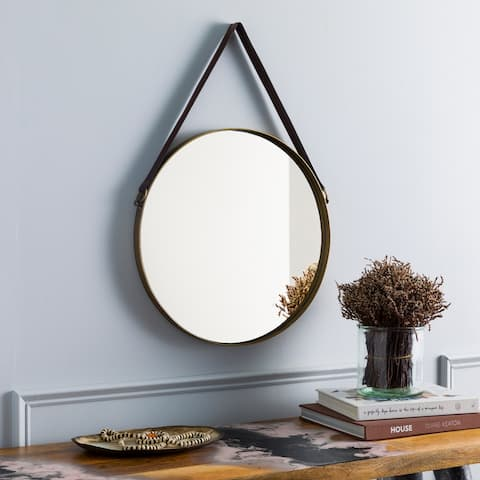 "Dufresne Modern Hanging 18-inch Round Mirror with Leather Strap - 18""H x 18""W"