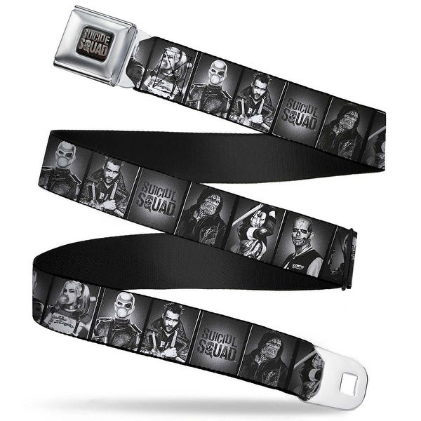 Suicide Squad Logo Full Color Black Gray Suicide Squad 7 Character Pose Seatbelt Belt